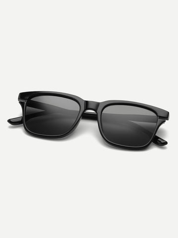 Black Retro Plain Frame Flat Lens Sunglasses