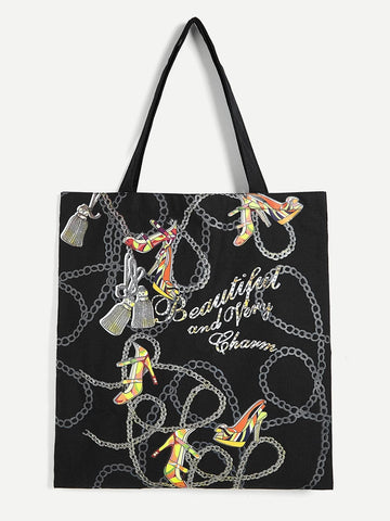 Double Handle Canvas Chain Print Tote Bag