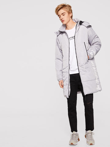 Grey Letter Print Pocket Patched Puffer Hoodie Coat