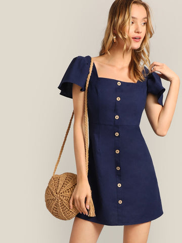 Navy Blue 100% Cotton Square Neck Single Breasted Flutter Sleeve Dress