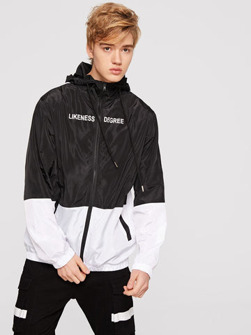 Black and White Two Tone Zip Up Windbreaker Hoodie Jacket