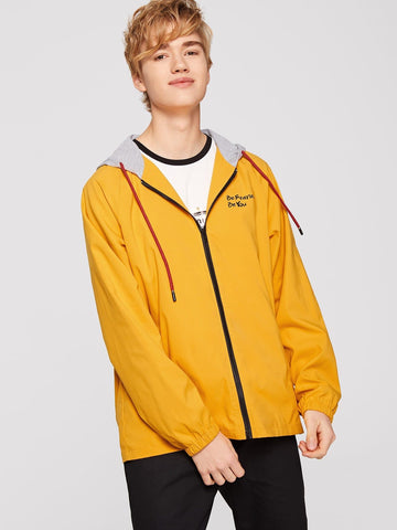 Ginger Polyester Zip Up Raglan Sleeve Hoodie Coat