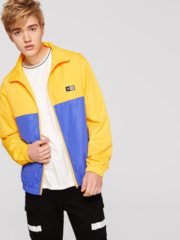 Stand Collar Zip Up Two Tone Patched Front Jacket