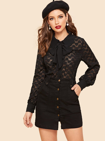 Black Tied Neck Long Sleeve Semi Sheer Blouse Top