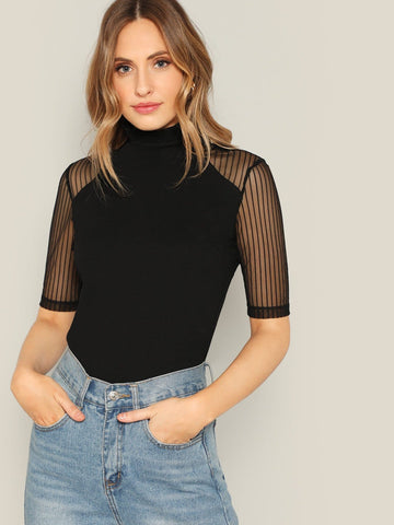 Black Stand Collar Frilled Neck Striped Mesh Sleeve Top
