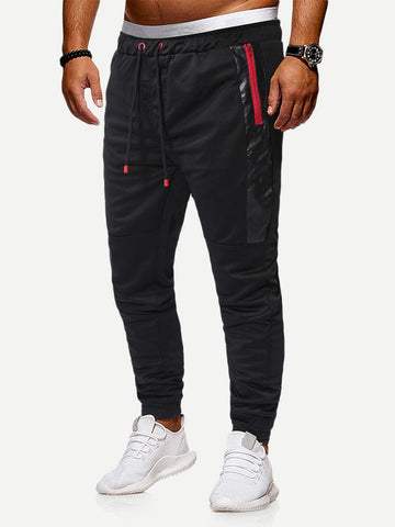 Contrast PU Zipper Side Drawstring Cotton Sweatpants