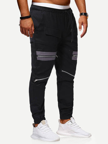 Black Zipper Detail Drawstring Waist Cargo Sweatpants