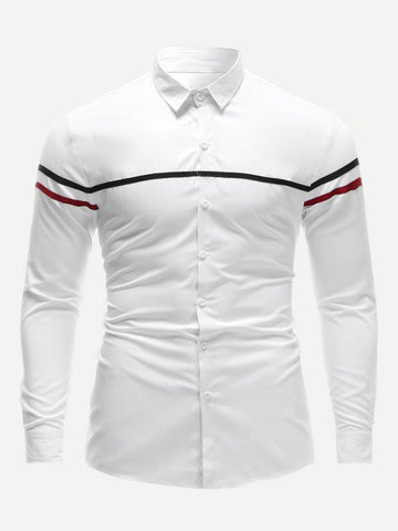 White Long Sleeve Striped Panel Slim Fit Shirt