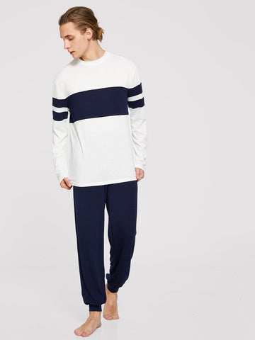 Round Neck Contrast Stripe Pajama Set