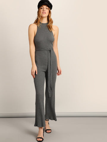 Grey Sleeveless Mock-neck Self Belted Rib-knit Jumpsuit