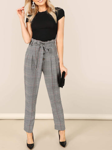 Grey High Paperbag Waist Self Belted Plaid Pants