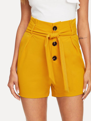 Ginger High Waist Button Fly Tailored Shorts With Belt