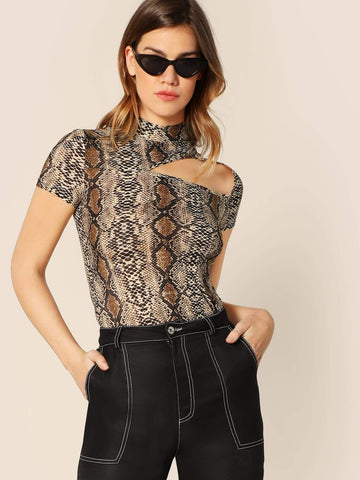 Short Sleeved Stand Collar Mock-neck Cutout Snakeskin Fitted Tee