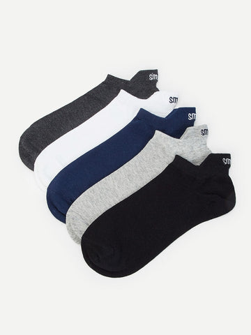 Letter Embroidery Ankle Socks 5pairs