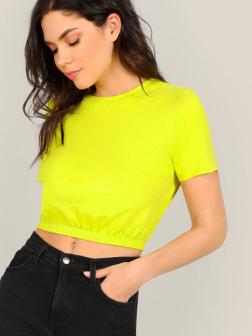Neon Yellow Round Neck Elastic Hem Slim Fit Crop Tee Top