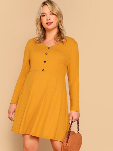 Ginger V Neck Plus Buttoned Rib-knit Fit & Flare Dress