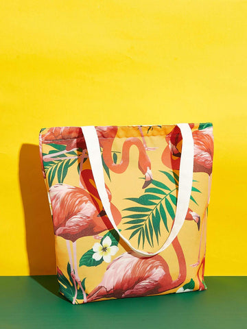 Canvas Flamingo And Plant Print Tote Bag