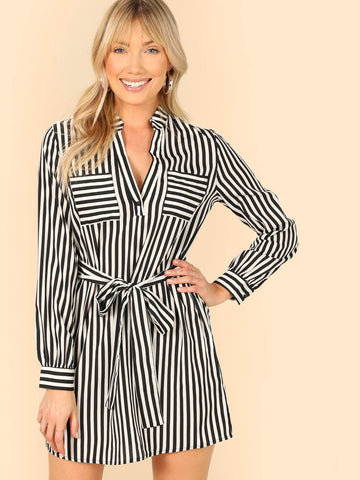 Black and White V Notch Neck Belted Striped Dress