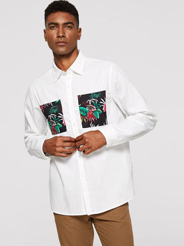 White 100% Cotton Plants Print Patched Shirt