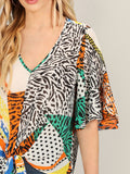 V Neck Flutter Sleeve Mixed Print Knot Blouse Top