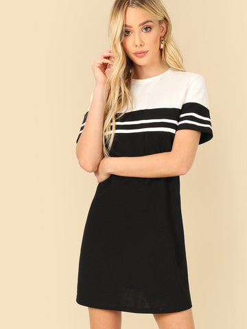 Black and White Round Neck Two Tone Varsity Striped Tee Dress