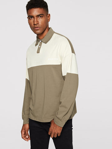Khaki Drop Shoulder Cut-and-sew Long Sleeve Polo Shirt
