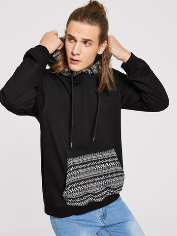 Black Kangaroo Pocket Front Geometric Tribal Print Hoodie
