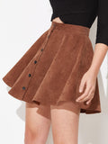 High Waist Button Up Flare Corduroy Mini Skirt