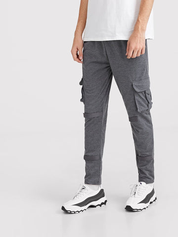 Skinny Grey Solid Pocket Side Cargo Pants
