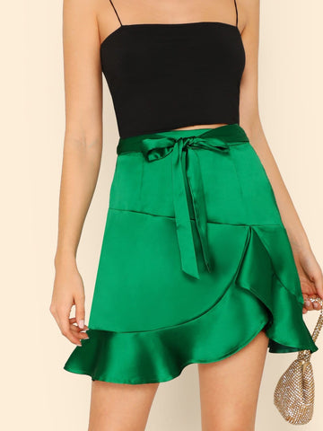 Green Bow Tie Waist Ruffle Satin Skirt