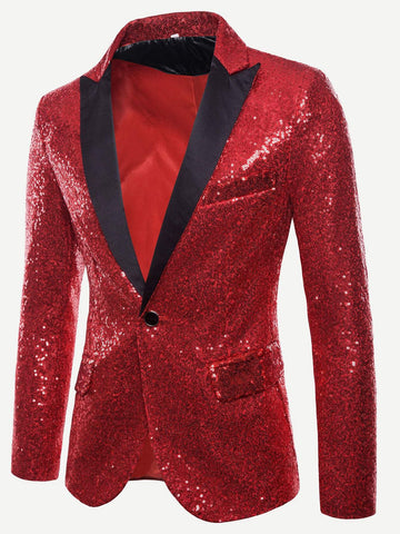 Regular Fit Notched Collar Contrast Placket Single Button Sequin Blazer
