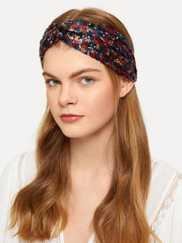 Multicolor 100% Polyester Sequin Overlay Headband
