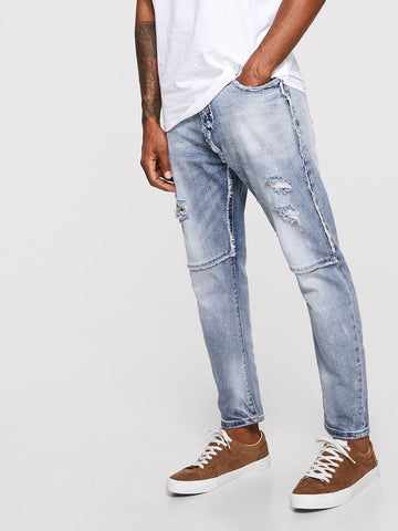Blue Tapered Button Fly Ripped & Raw Hem Detail Wash Jeans
