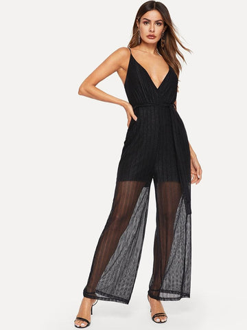 Black Spaghetti Strap Sleeveless Self Tie Sheer Cami Jumpsuit