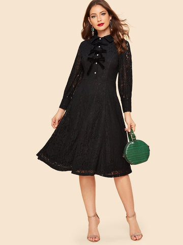 Black Lace Overlay Velvet Bow Embellished Buttoned Dress