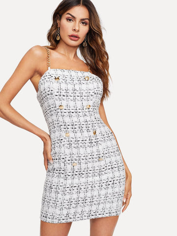 White Polyester Sleeveless Button Up Chain Strappy Tweed Dress