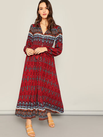 Burgundy Triba Ornate Print Tassel Tied Buttoned Dress