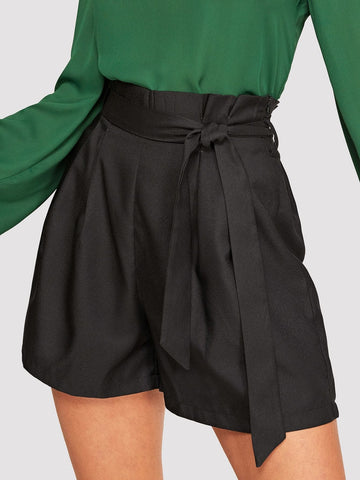 Black Polyester Paperbag High Waist Belted Shorts