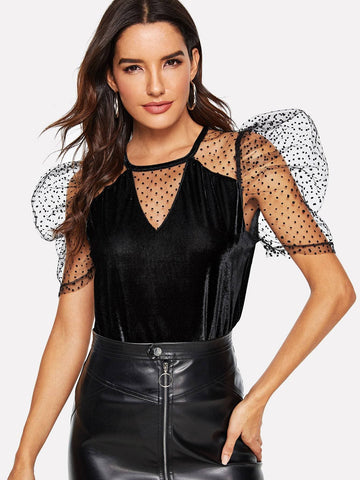 Black Round Neck Dot Mesh Insert Puff Sleeve Velvet Top