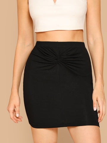Black Mid Waist Twist Front Solid Bodycon Skirt