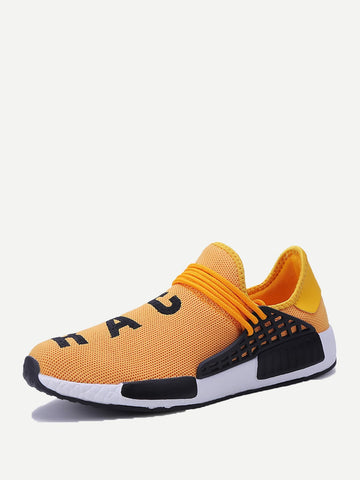Yellow Slip On Mesh Sneakers