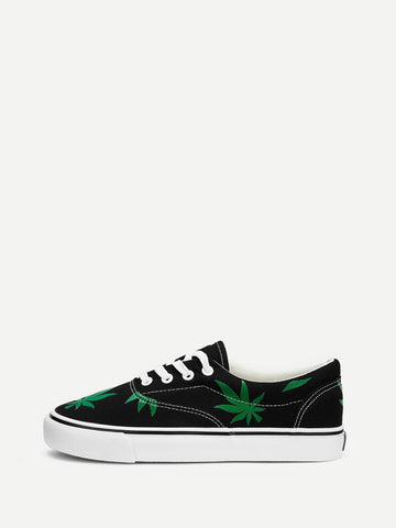 Lace Up Black Leaf Print Low Top Canvas Sneakers