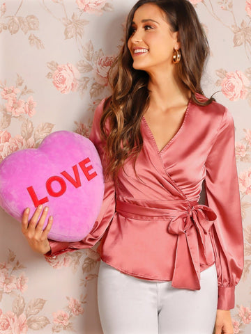 Pink V Neck Long Bishop Sleeve Surplice Wrap Satin Top