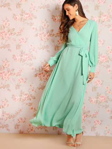 Green Polyester V Neck Bishop Sleeve Surplice Wrap Dress