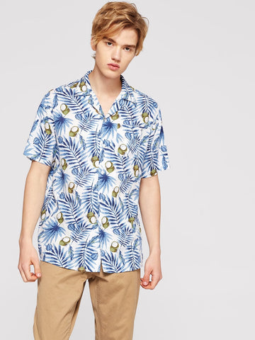 Short Sleeve Men Tropical Print Shirt