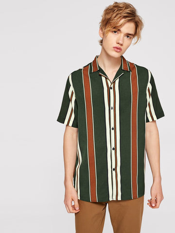 Short Sleeve Colorful Striped Shirt