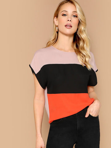 Round Neck Cap Sleeve Color-block Button Keyhole Back Blouse Top
