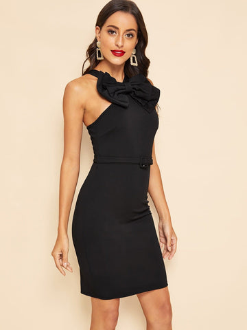Black Sleeveless 30s Zip Back Bow Front Belted Bodycon Dress