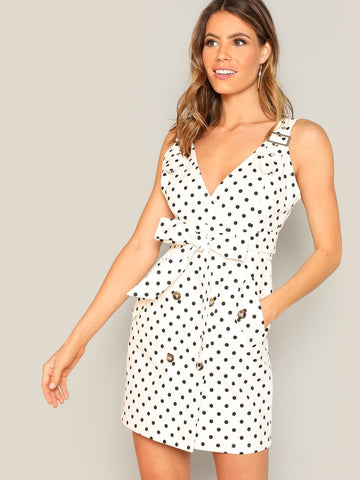 White Sleeveless Adjustable Strap Polka-dot Knotted Dress