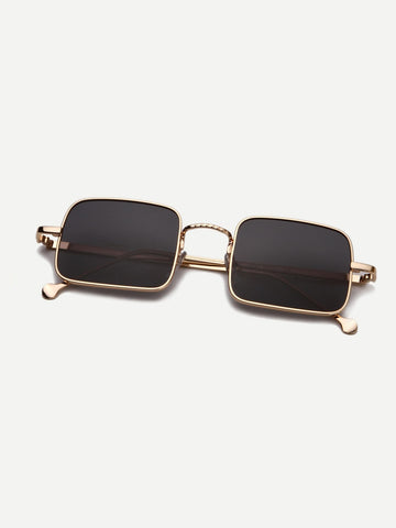 Black Metal Frame Square Lens Sunglasses